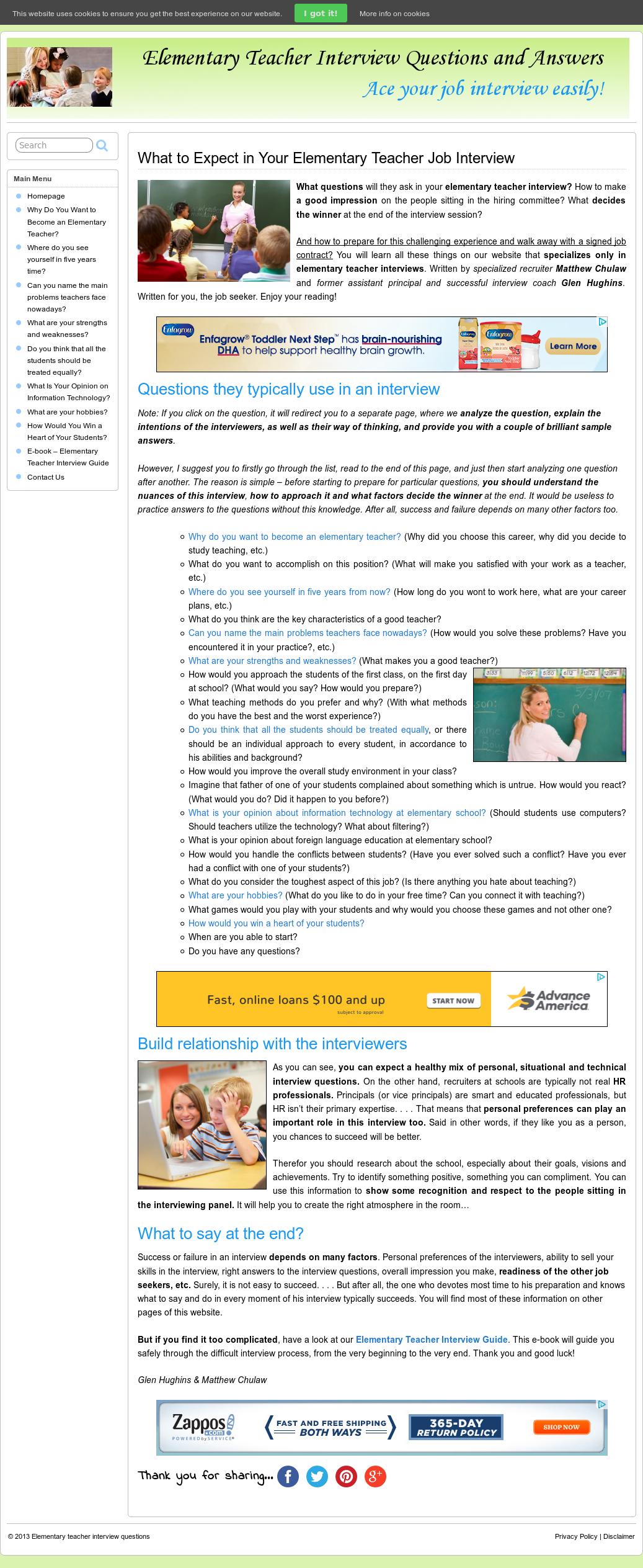 Elementary Teacher Interview Questions Competitors, Revenue