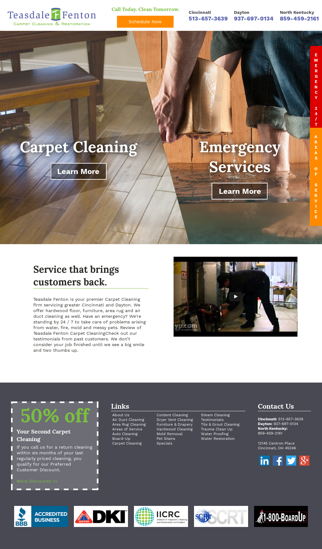 Teasdale Fenton Restoration's website screenshot on Jun 2016