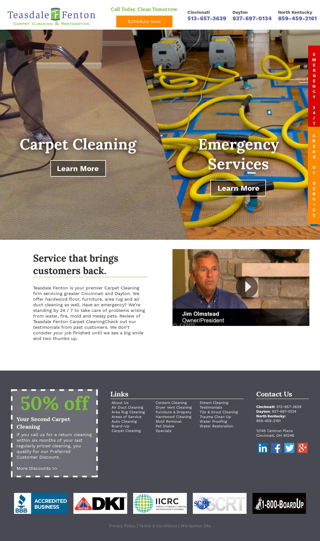 Teasdale Fenton Restoration's website screenshot on Dec 2016