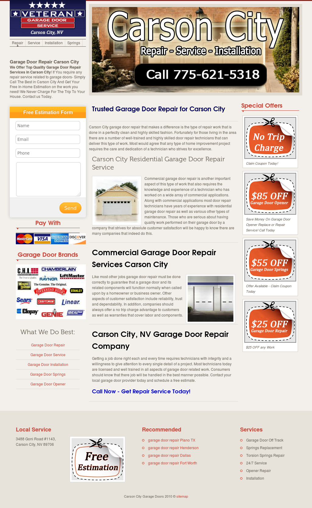 Carson City Garage Doors Website History