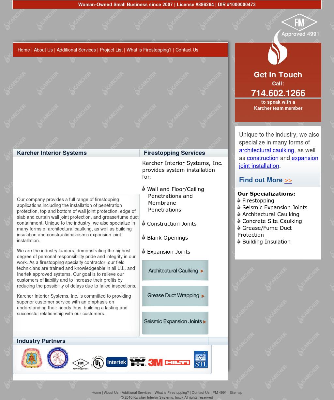 Karcher Interior Systems Website History