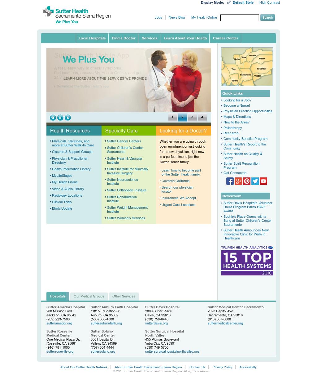 Sutter Health Sacramento Sierra Region Competitors, Revenue and