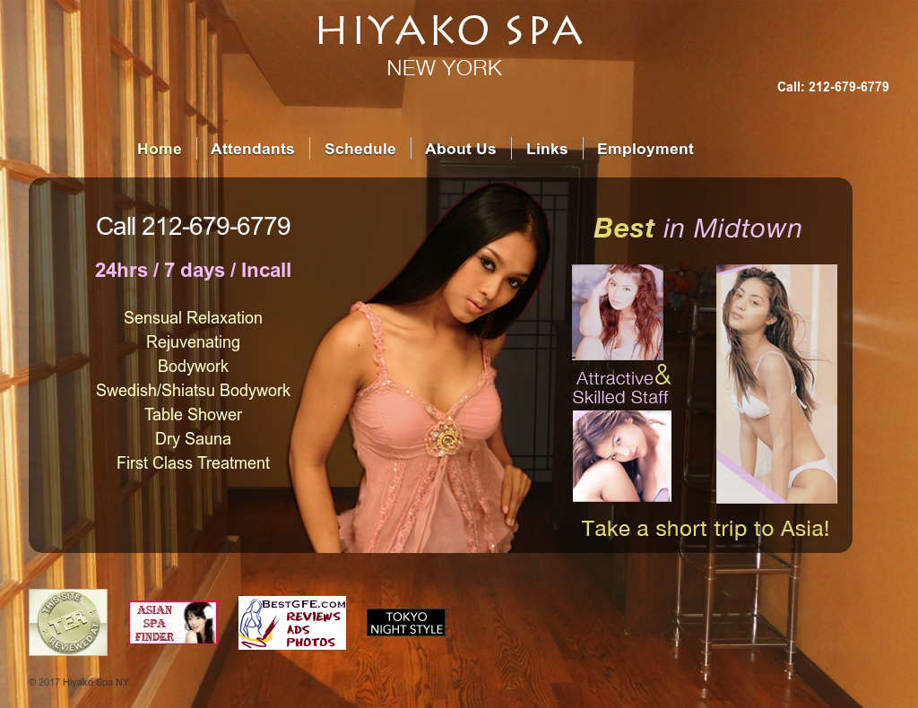Hiyako Spa Ny website history