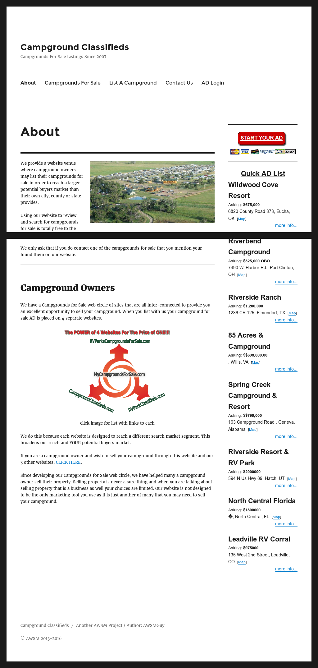 Campgrounds For Sale Ad Network & Awsm Competitors, Revenue and