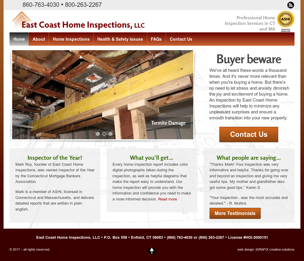 East Coast Home Inspections Website History