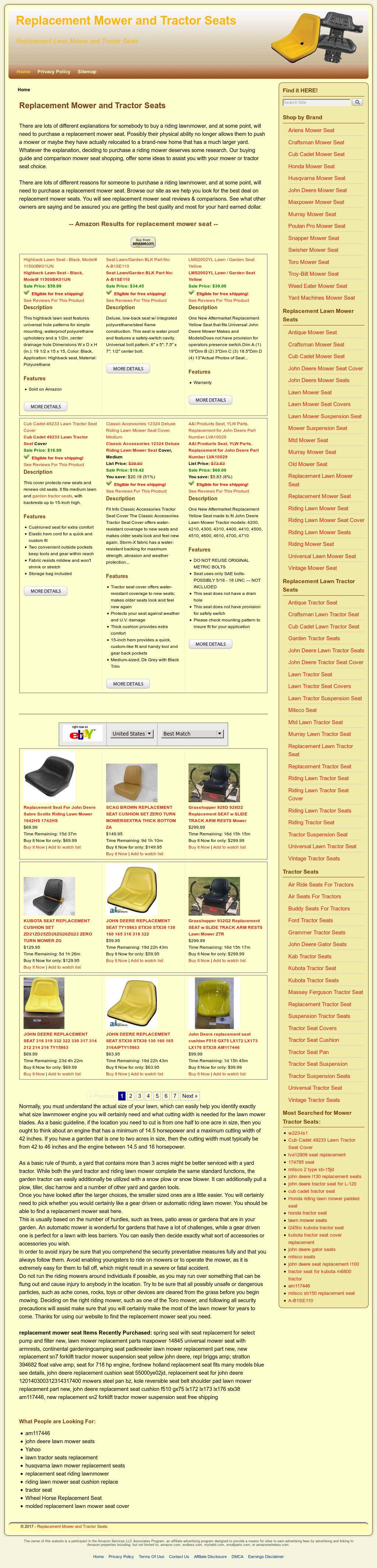 Replacement Mower And Tractor Seats Competitors, Revenue and
