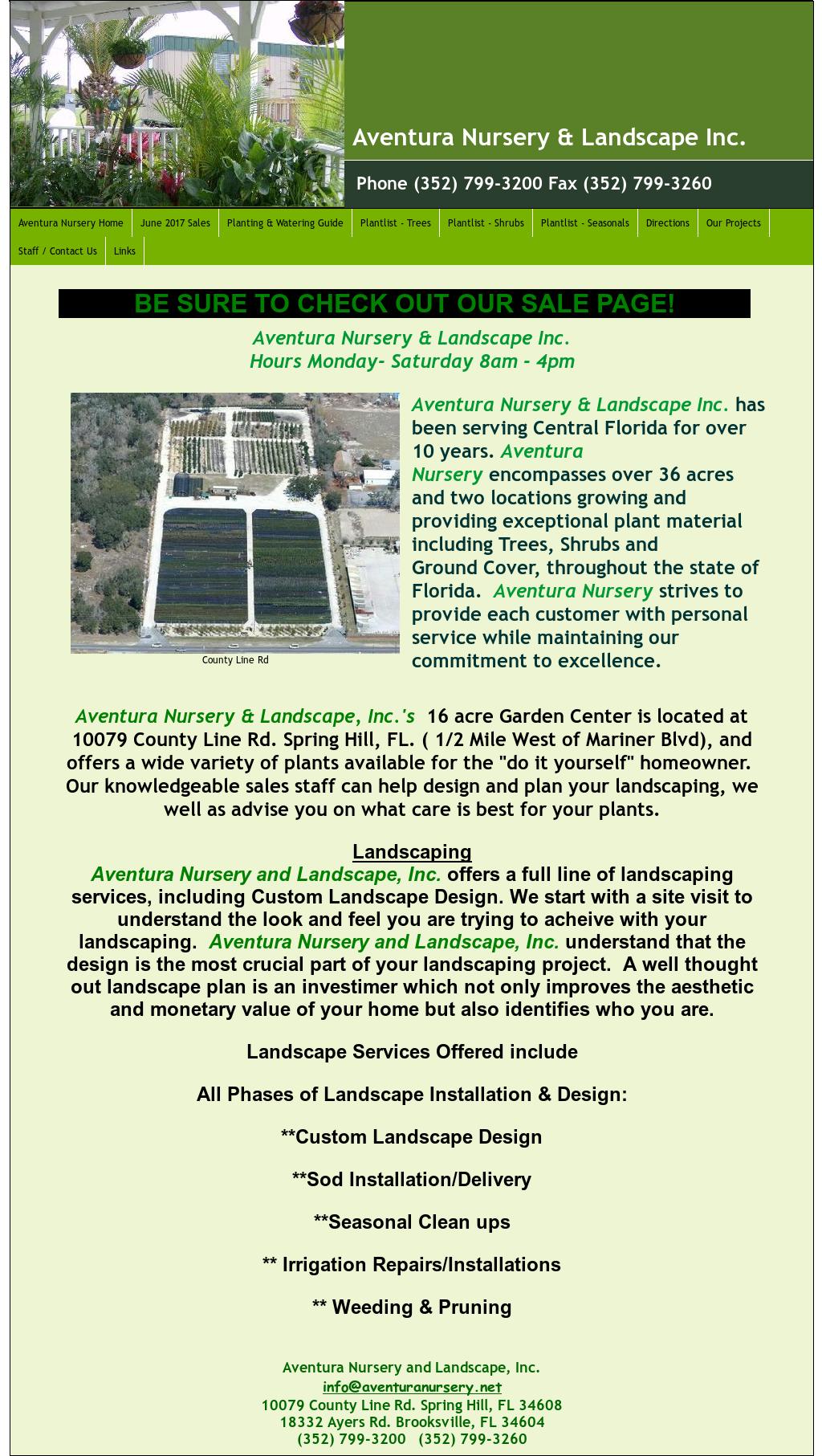 Aventura Nursery Landscaping S Website Screenshot On