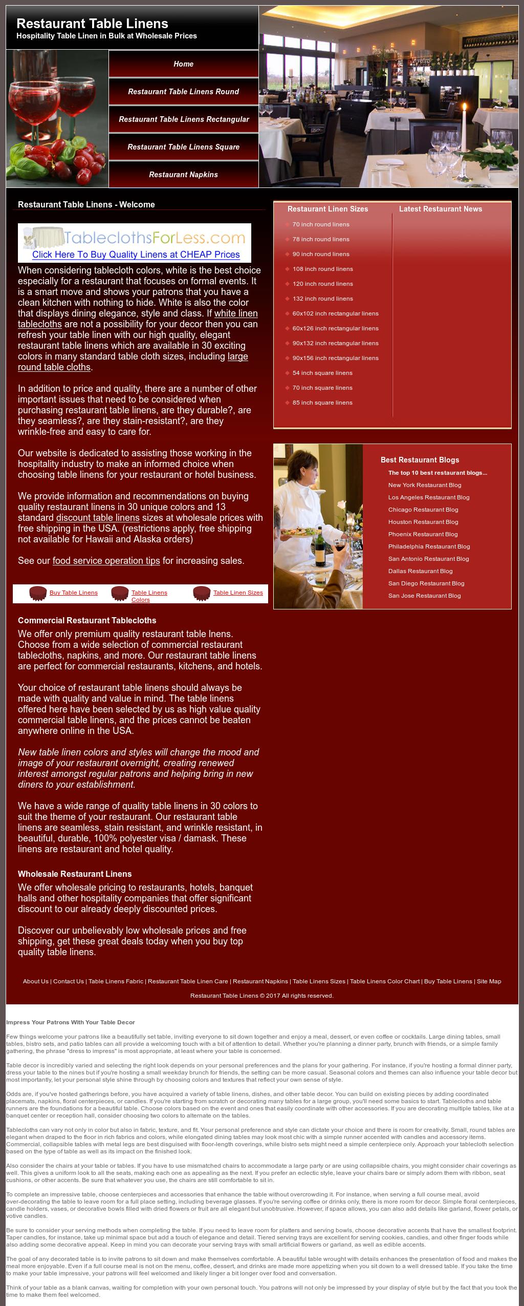 Restaurant Table Linens Website History
