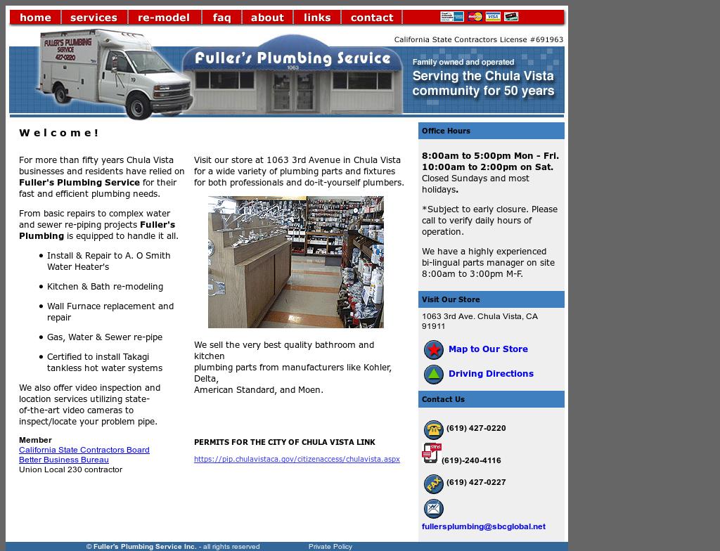 Fuller S Plumbing Website History