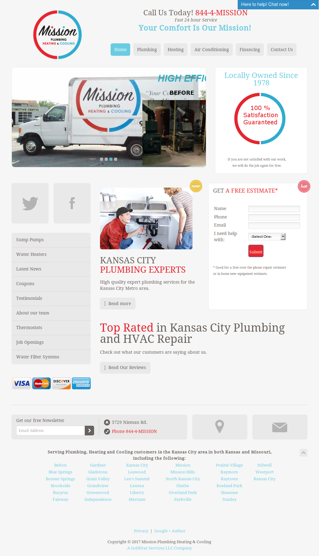 Mission Plumbing Heating Cooling Website History