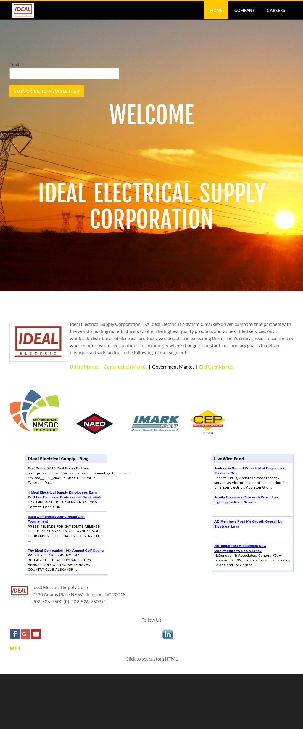 Idealelectric Competitors Revenue And Employees Owler Company Profile Ideal Electrical Products Idealelectrics Website Screenshot On Feb 2017