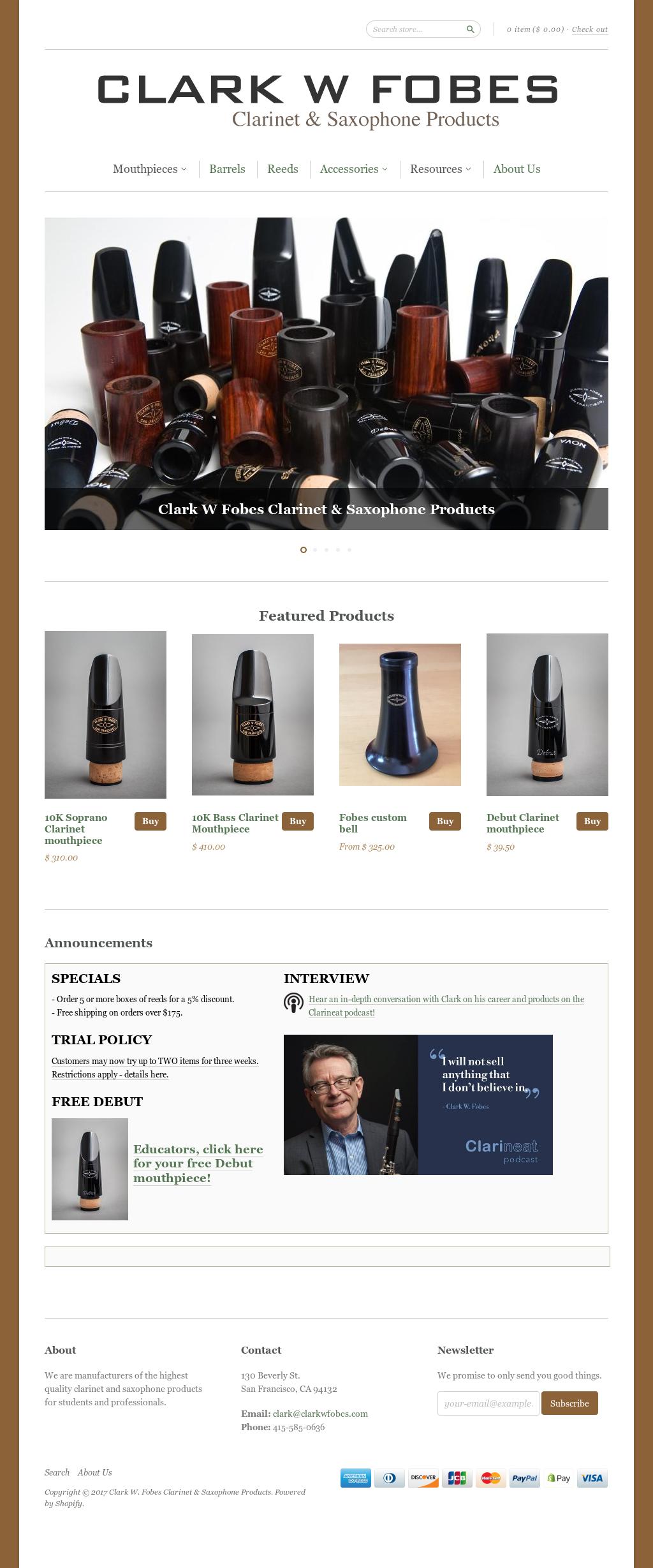 Clark W Fobes's website screenshot on Sep 2017