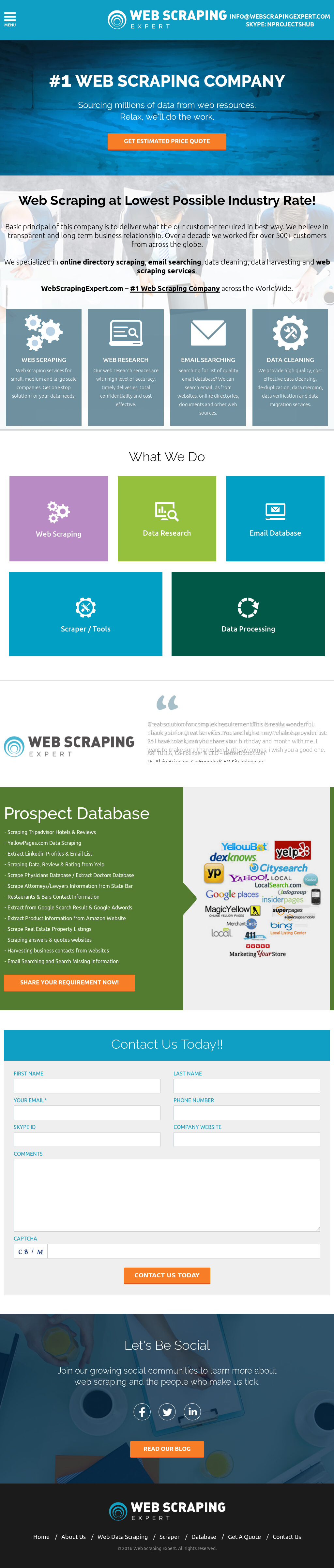 Web Scraping Expert Competitors, Revenue and Employees