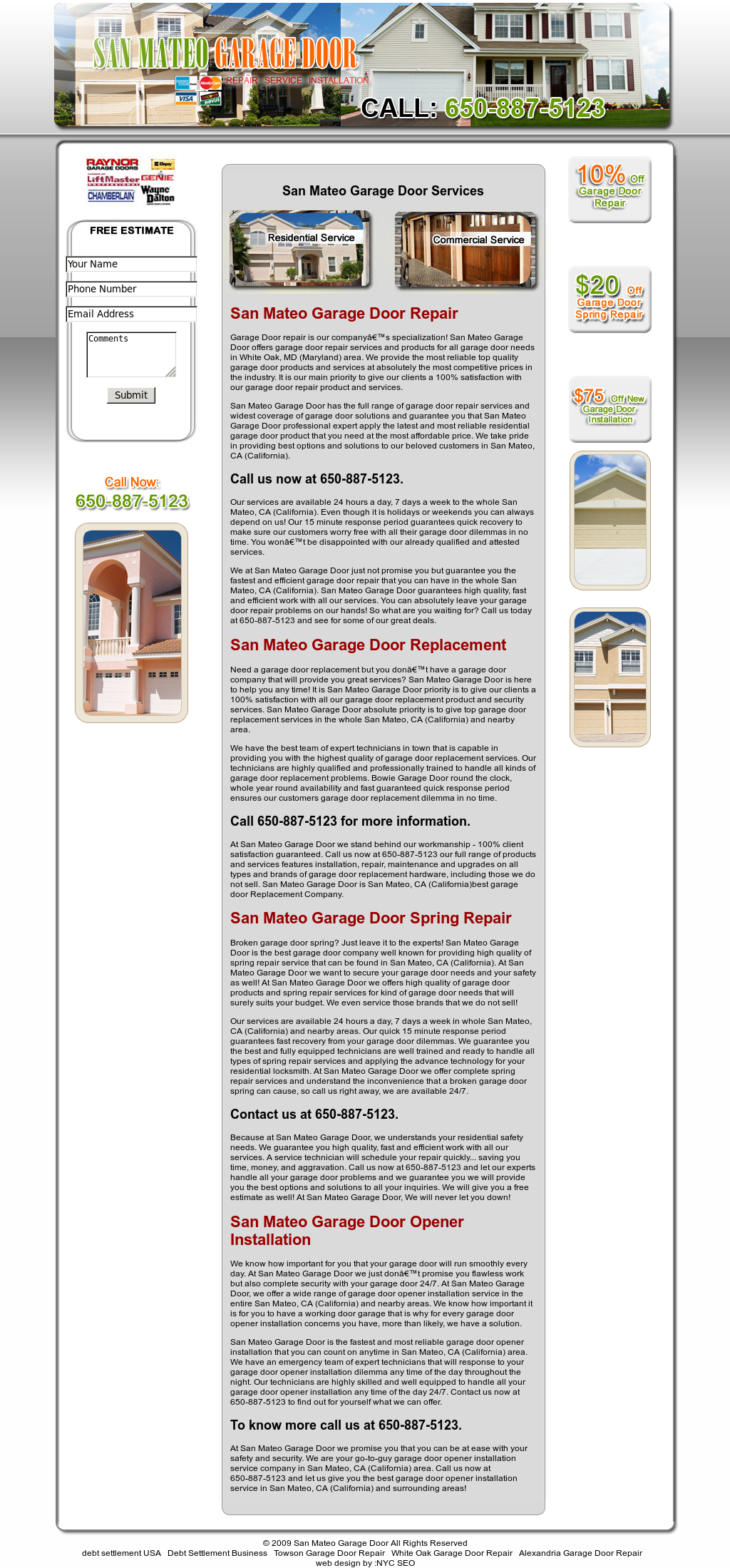 San Mateo Garage Door Website History