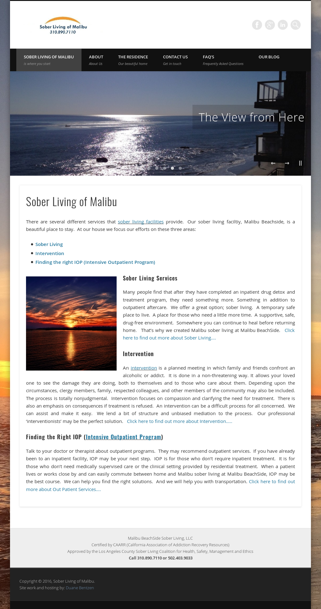 Malibu BeachSide Sober Living Website History