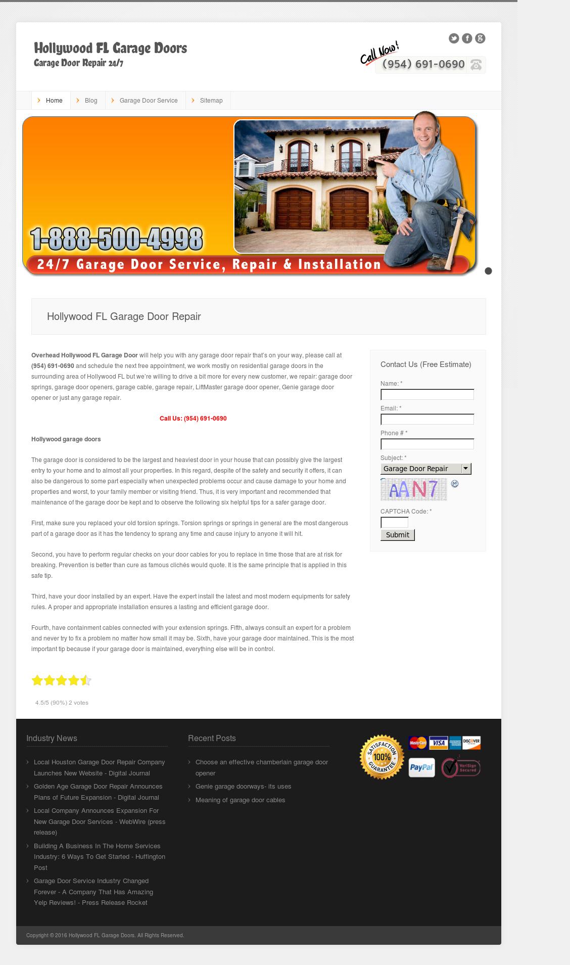 Hollywood Fl Garage Doors Website History