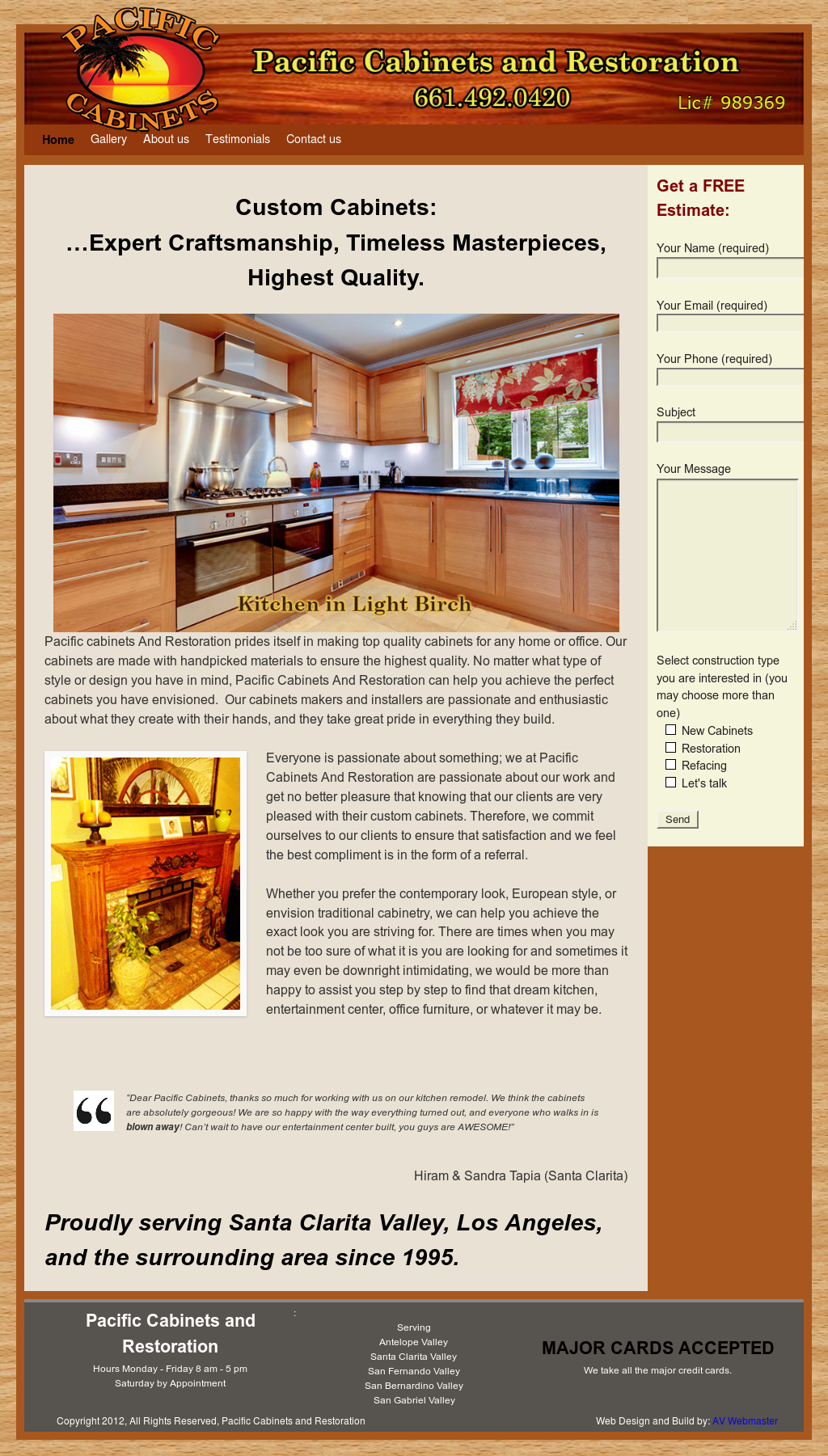 Pacific Cabinets And Restoration Website History