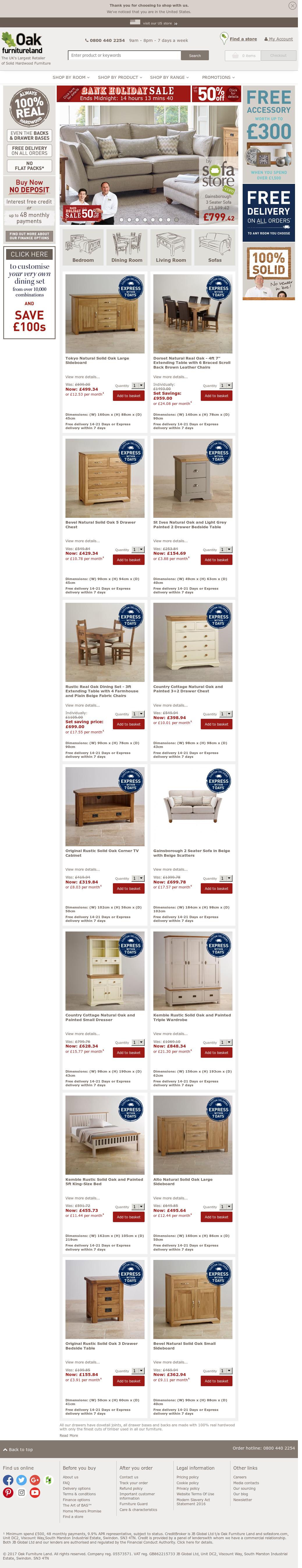 Oak Furniture Land Website History