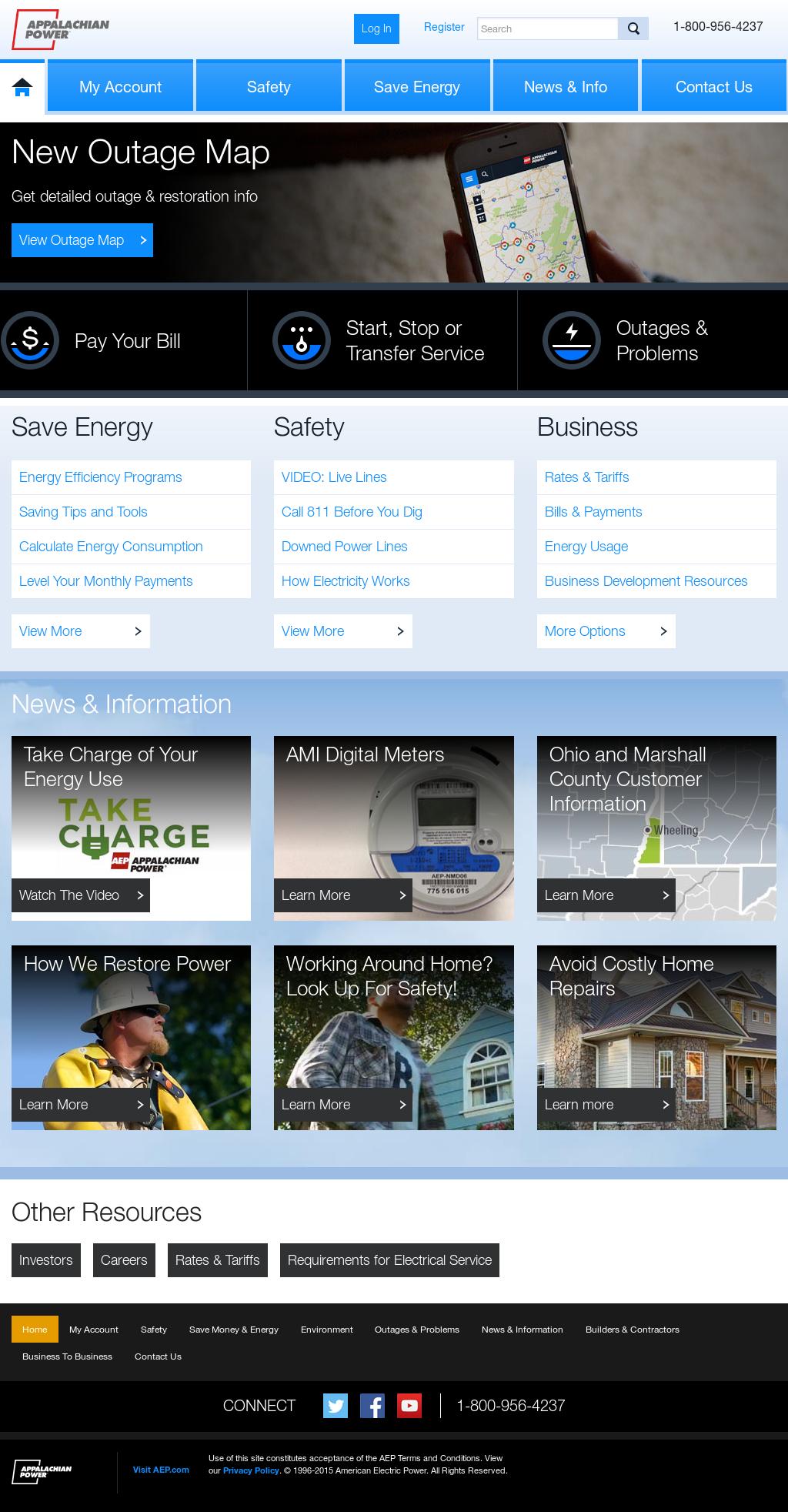 appalachian power's website screenshot on sep 2017