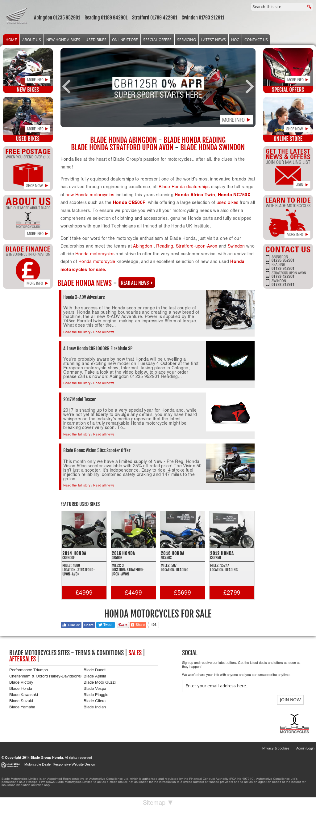 Blade Group Honda Website History