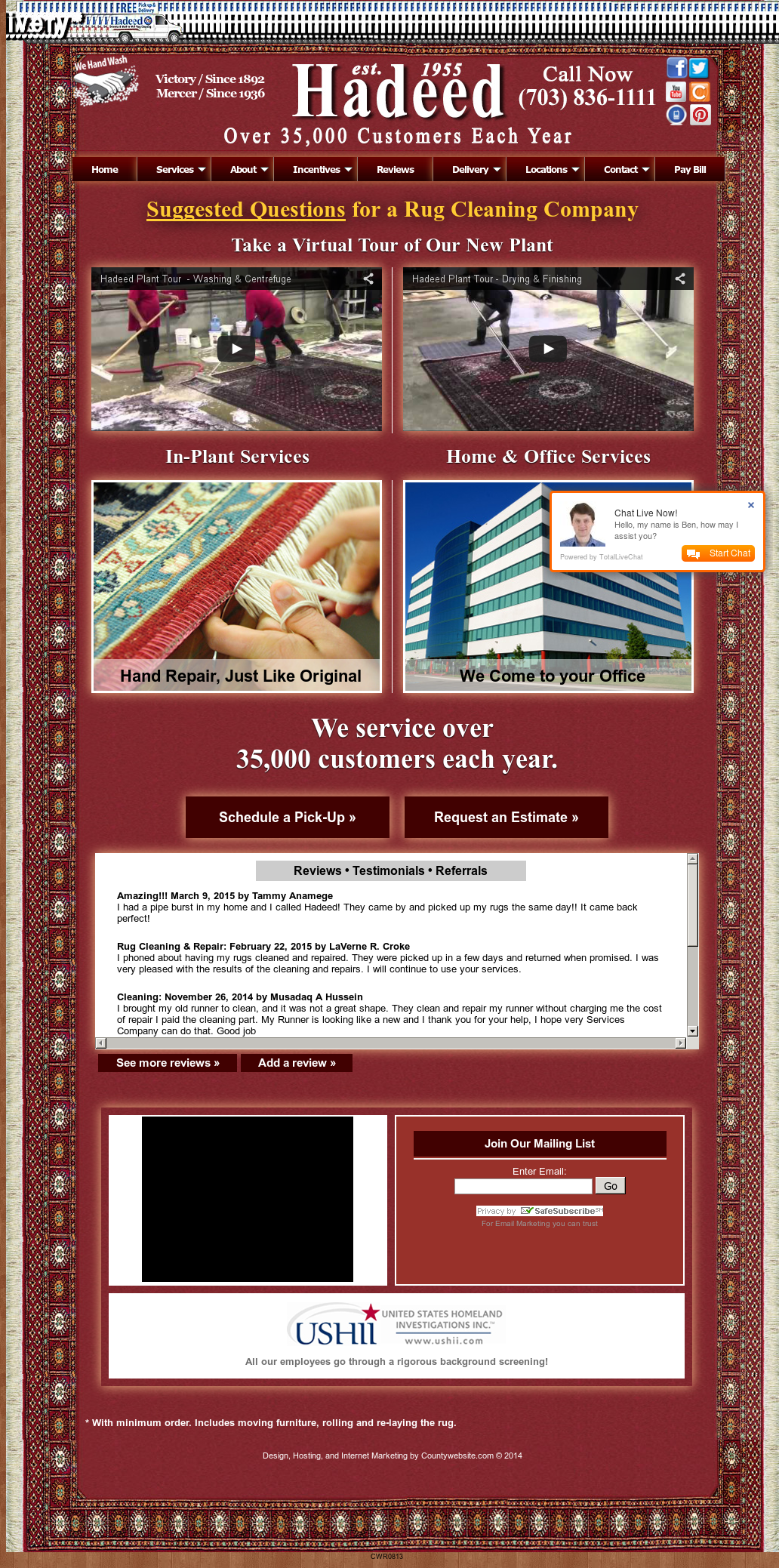Hadeed Oriental Rug Cleaning Competitors, Revenue and Employees