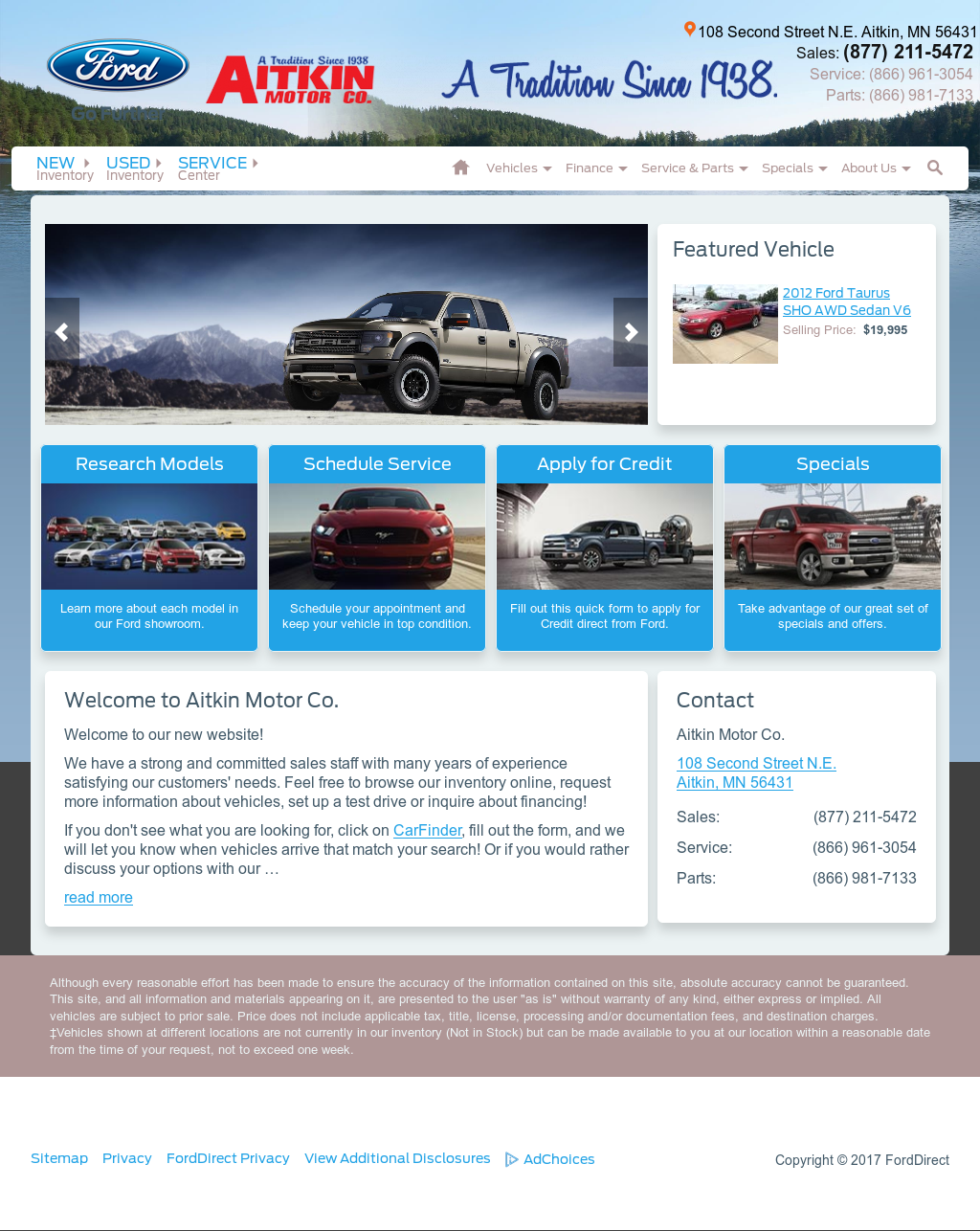 Aitkin Motor Co website history