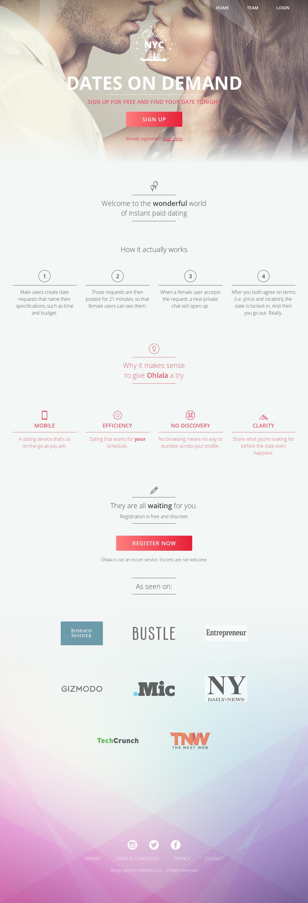 Web-App Ohlala website history