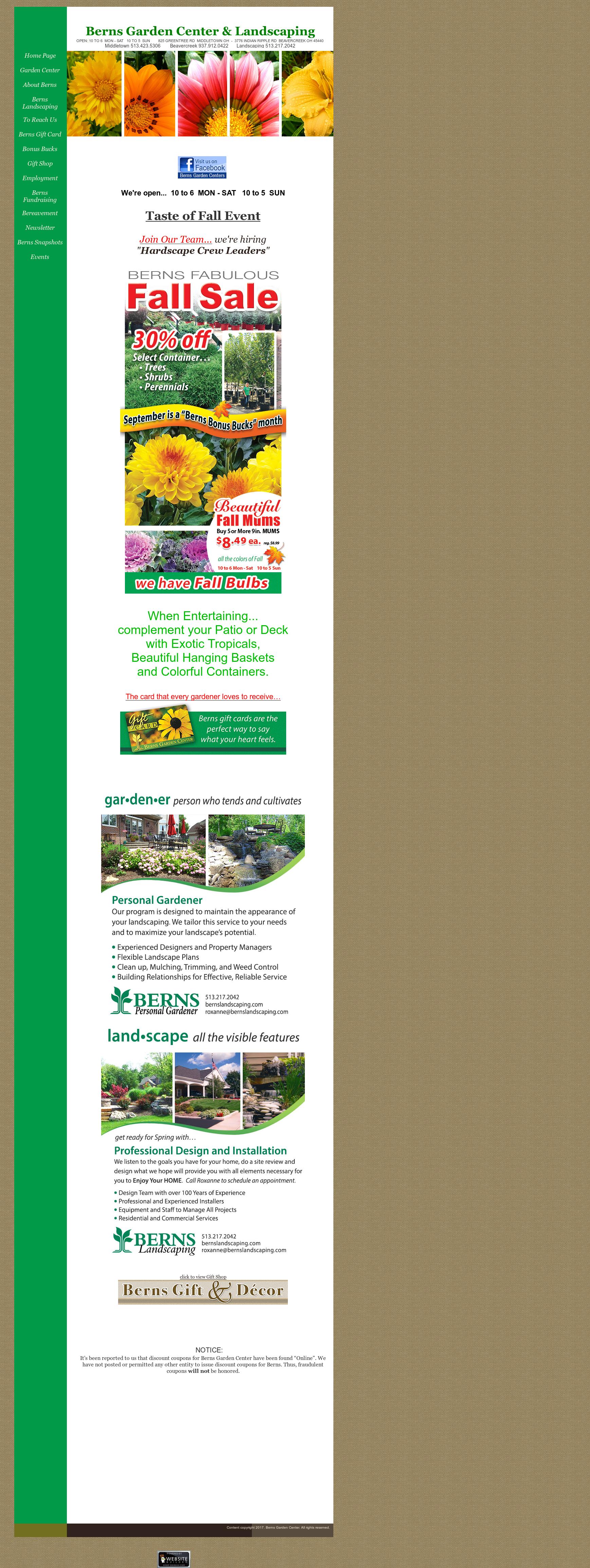 Berns Garden Center Website History