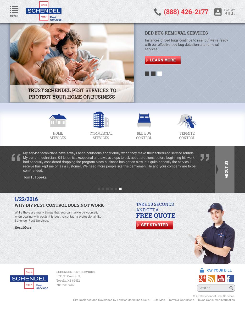 Schendel Pest Services Website History