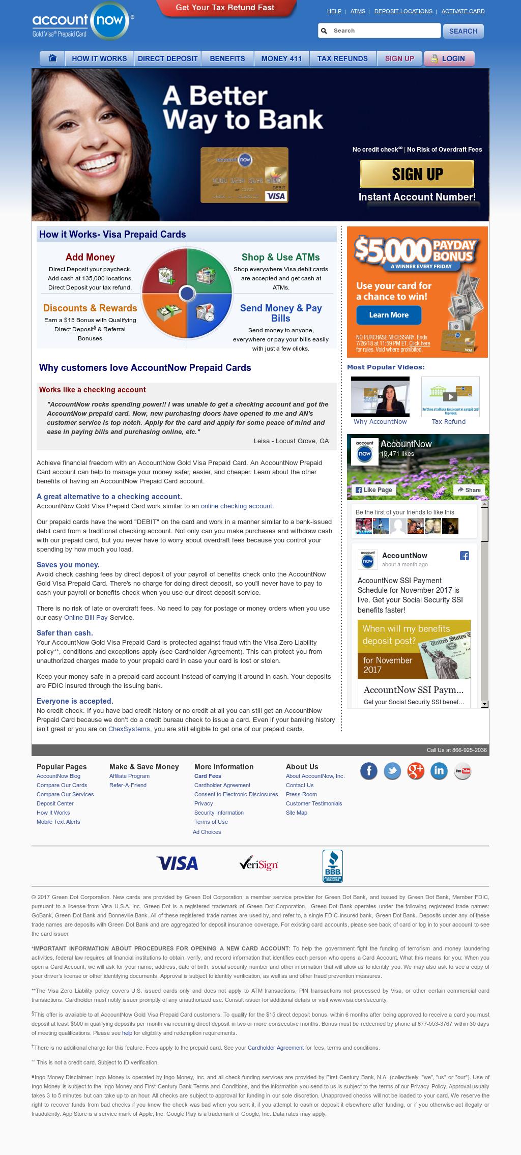 accountnows website screenshot on nov 2017 - Accountnow Gold Visa Prepaid Card