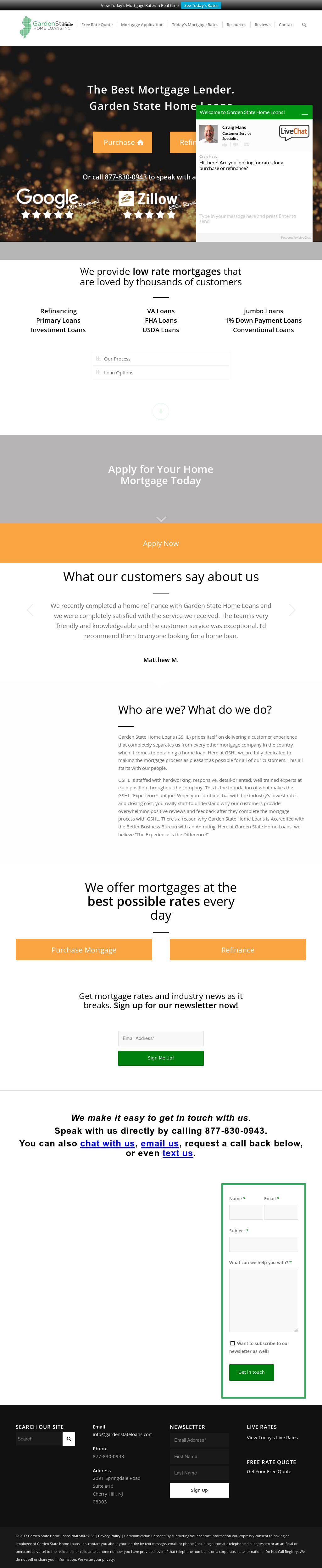 Garden State Home Loans Website History