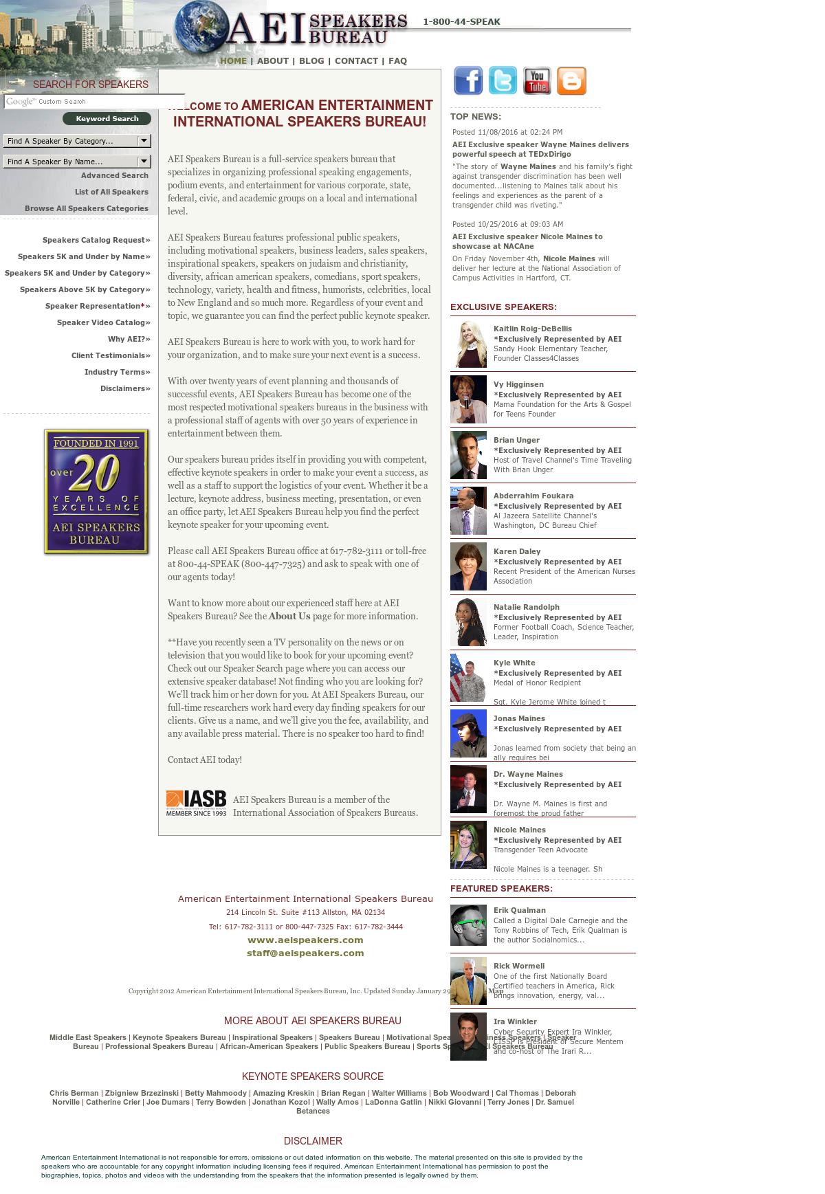 AEI Speakers Bureau Competitors, Revenue and Employees