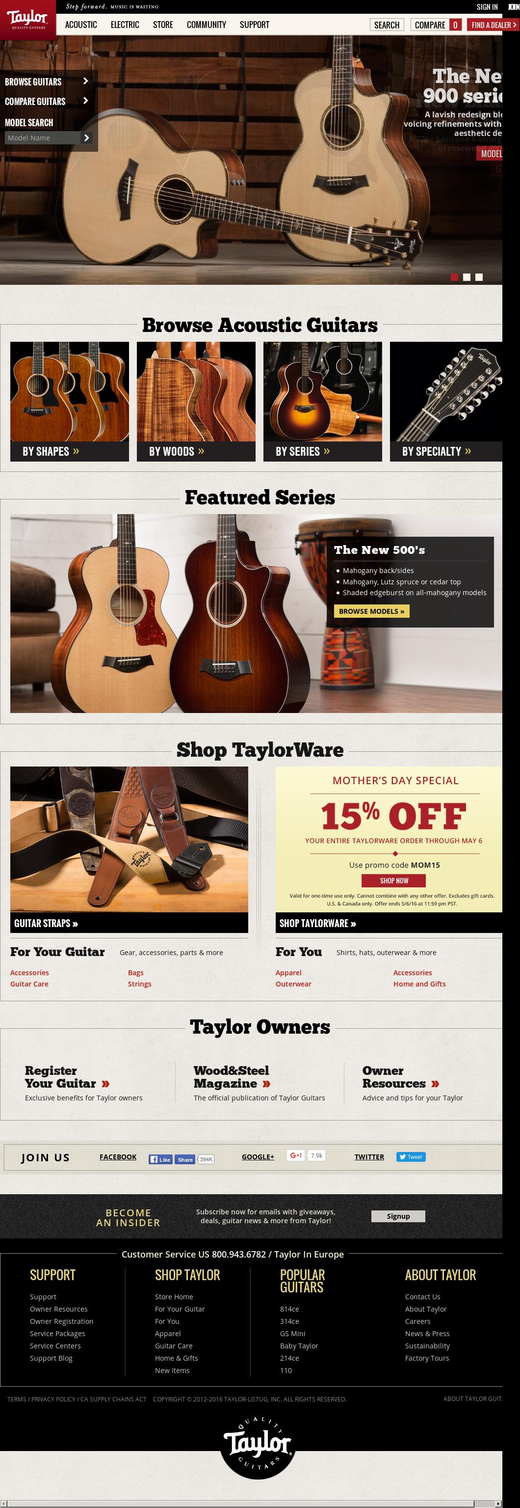 Taylor Guitars Website History