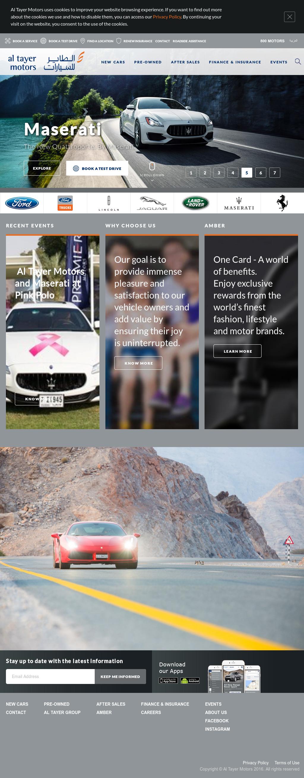 Al Tayer Motors's website screenshot on Feb 2017