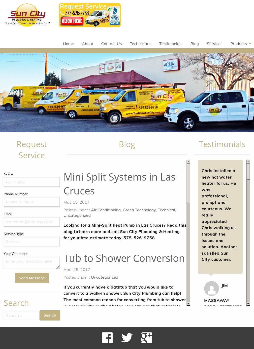 Sun City Plumbing Heating Website History
