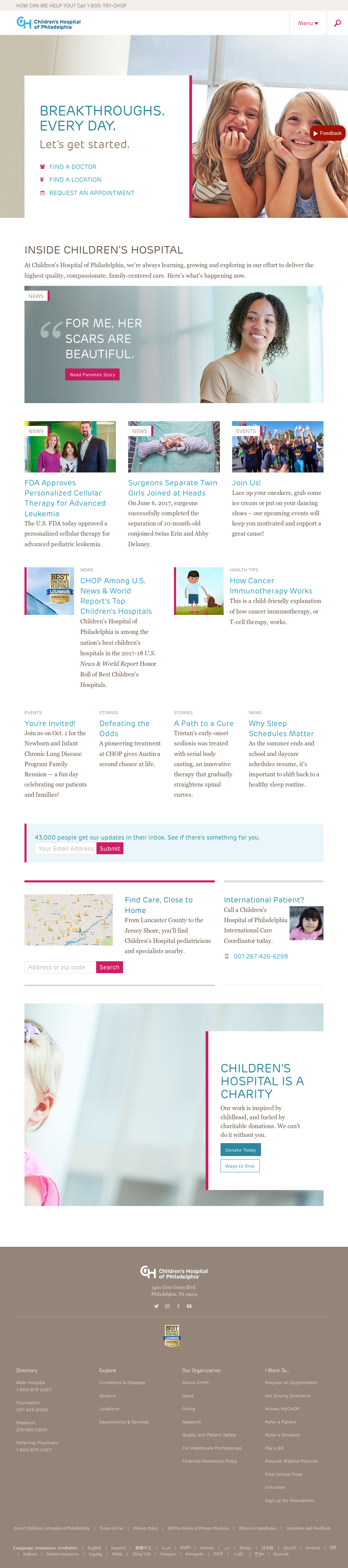 Children's Hospital of Philadelphia Competitors, Revenue and