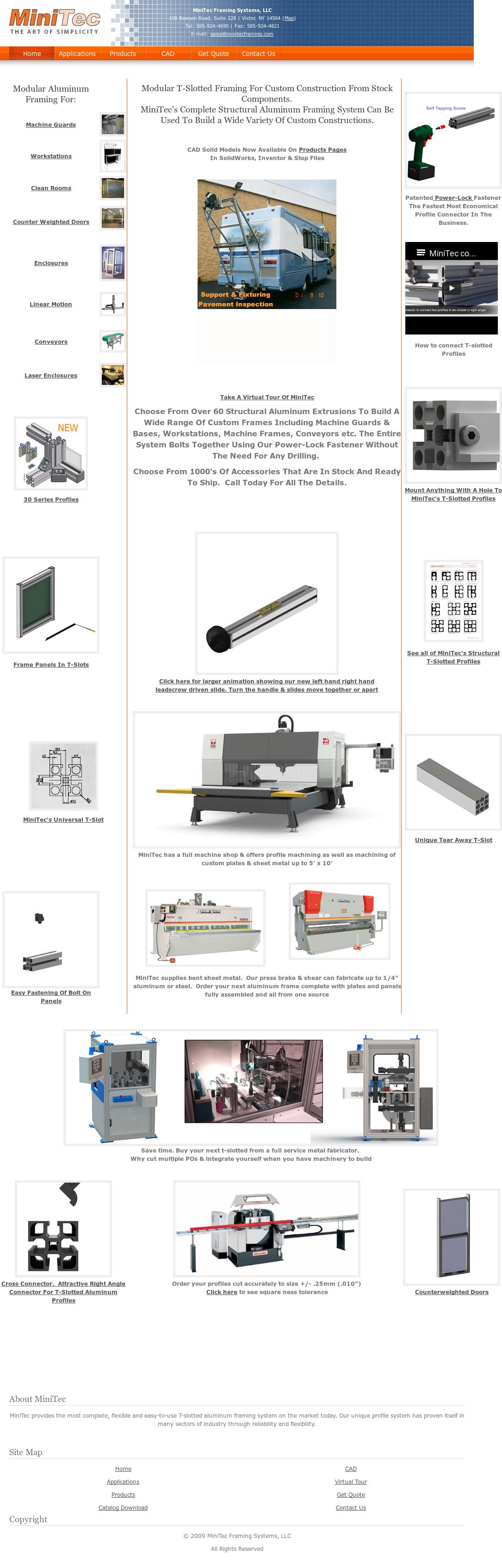 Minitec t-slotted aluminum extrusions. Modular aluminum profiles.