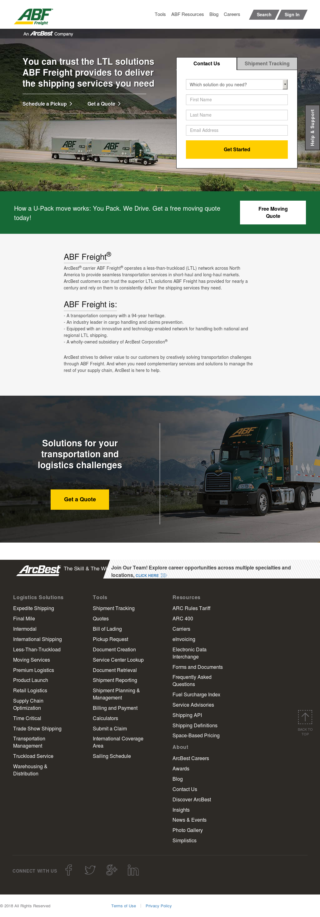 ABF Freight System website history