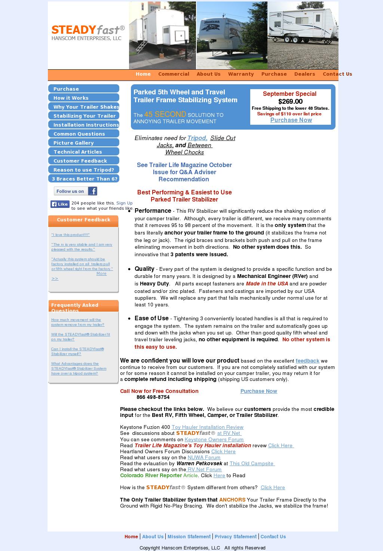 Rv Net Forum >> Steadyfast 5th Wheel And Rv Travel Trailer Stabilizer System