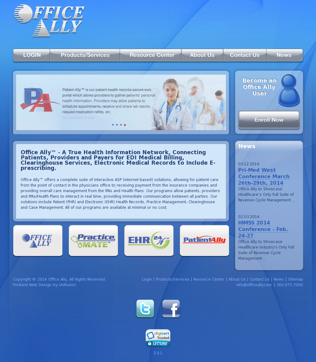 Office Ally Website History