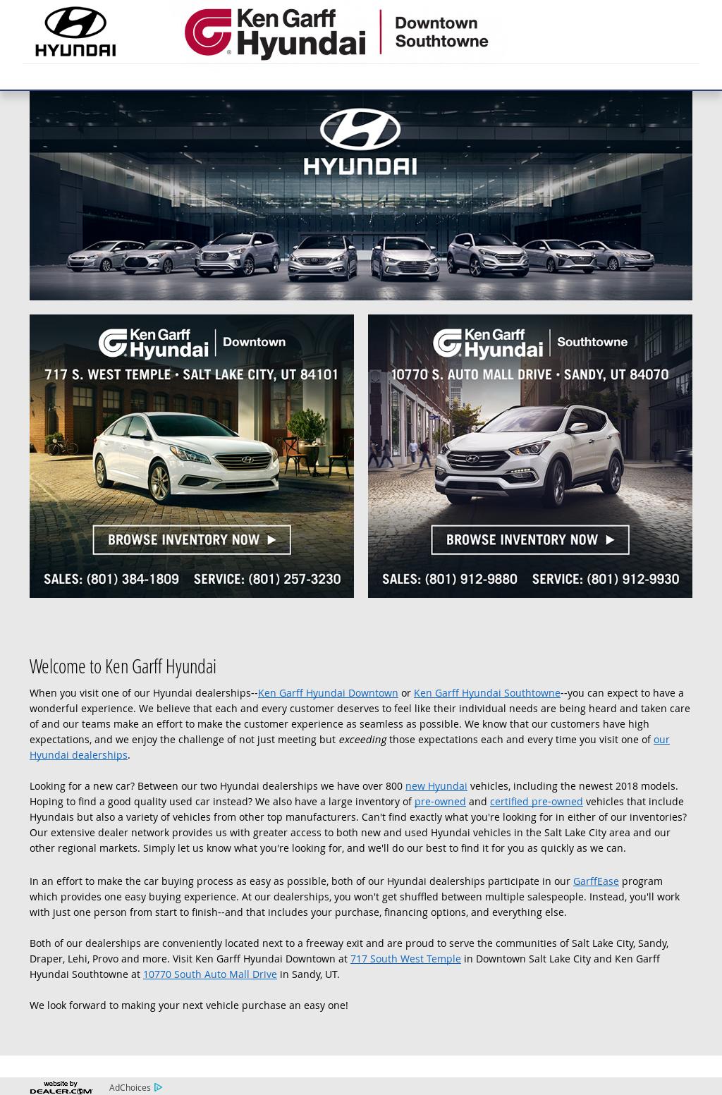 Ken Garff Hyundai Website History