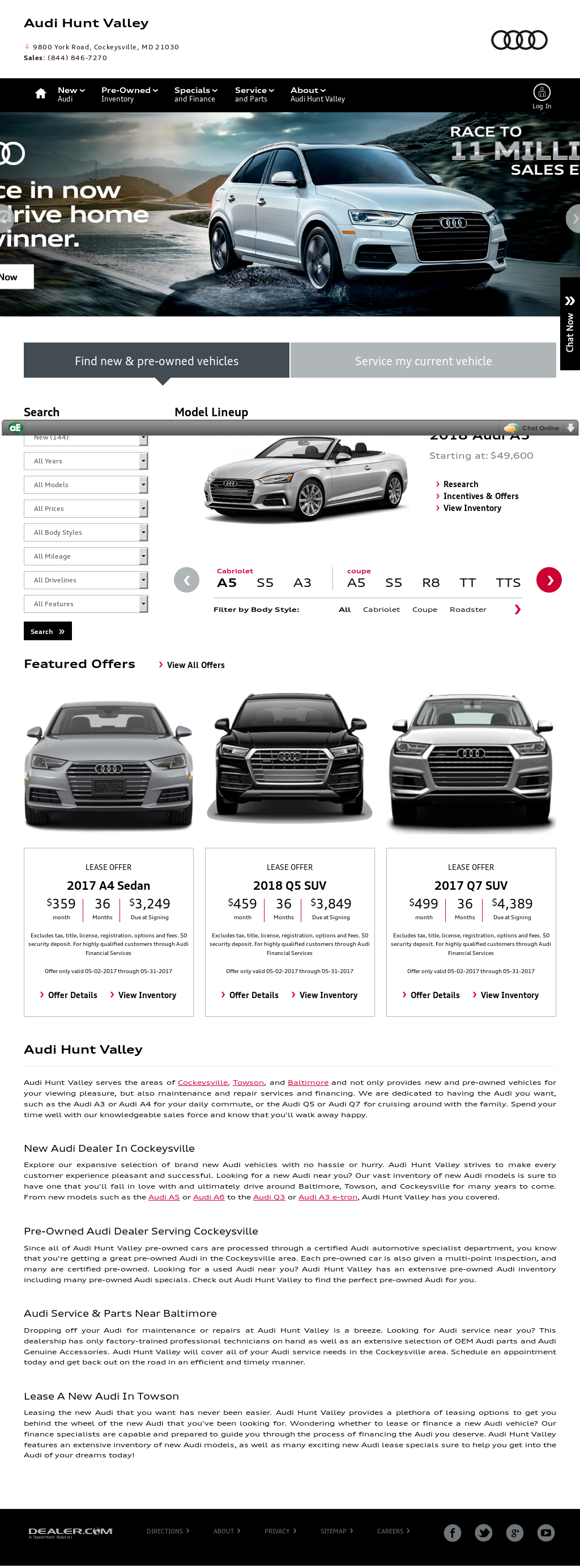 Audi Hunt Valley New Audi And Used Car Dealer In Cockeysville - Audi hunt valley