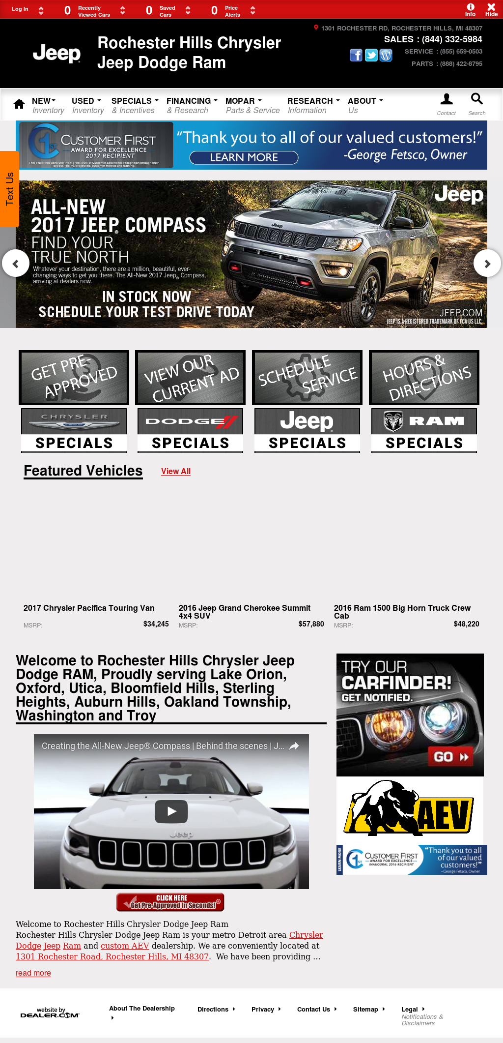 Rochester Hills Chrysler Jeep Dodge Ram Website History