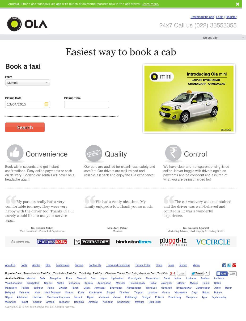 ola rental fare