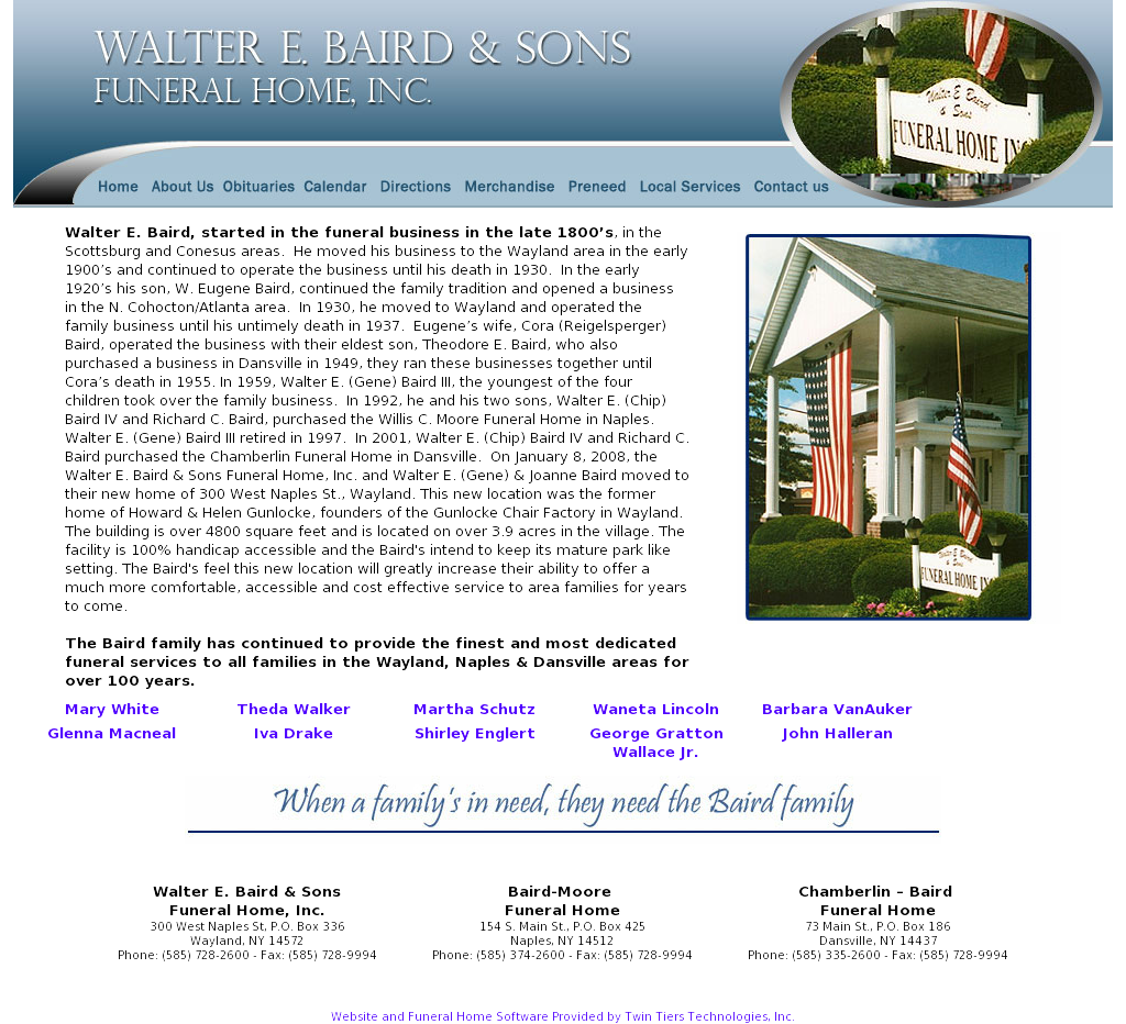 Walter E Baird Sons Funeral Home Competitors Revenue And