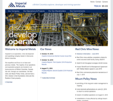 Imperial Metals website history