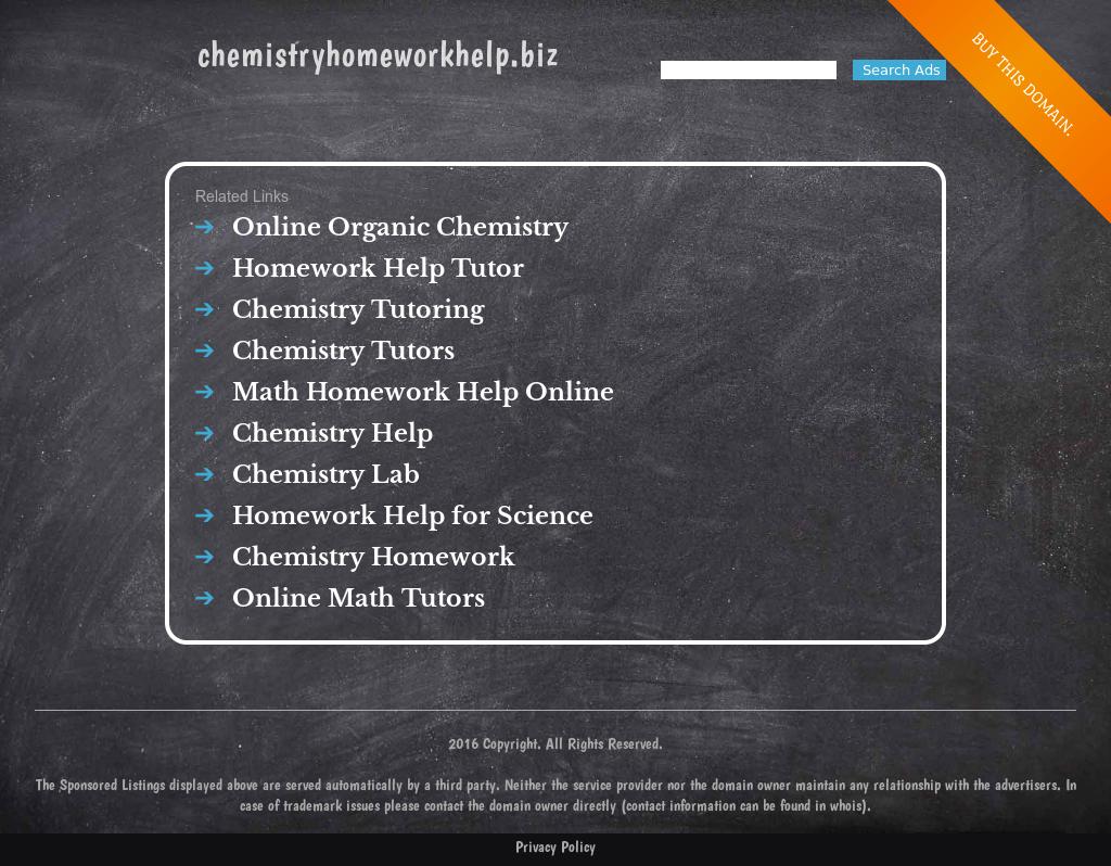 chemistry hw help