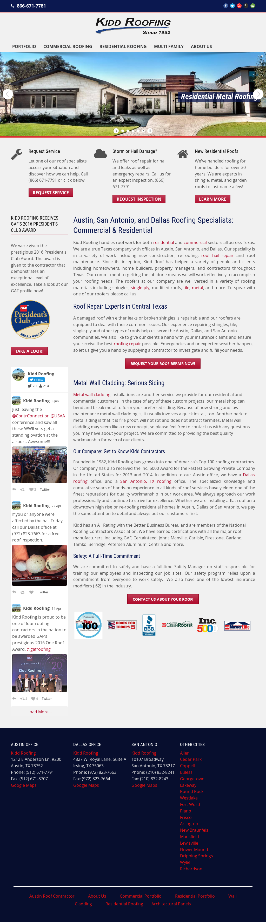 Kidd Roofing Website History