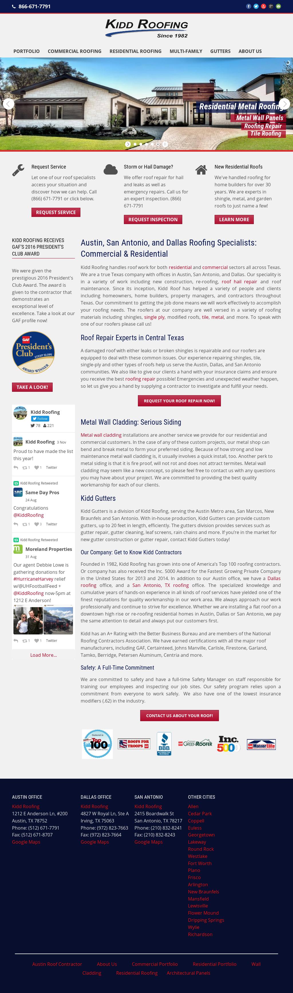 Kidd Roofing S Website Screenshot On Nov 2017