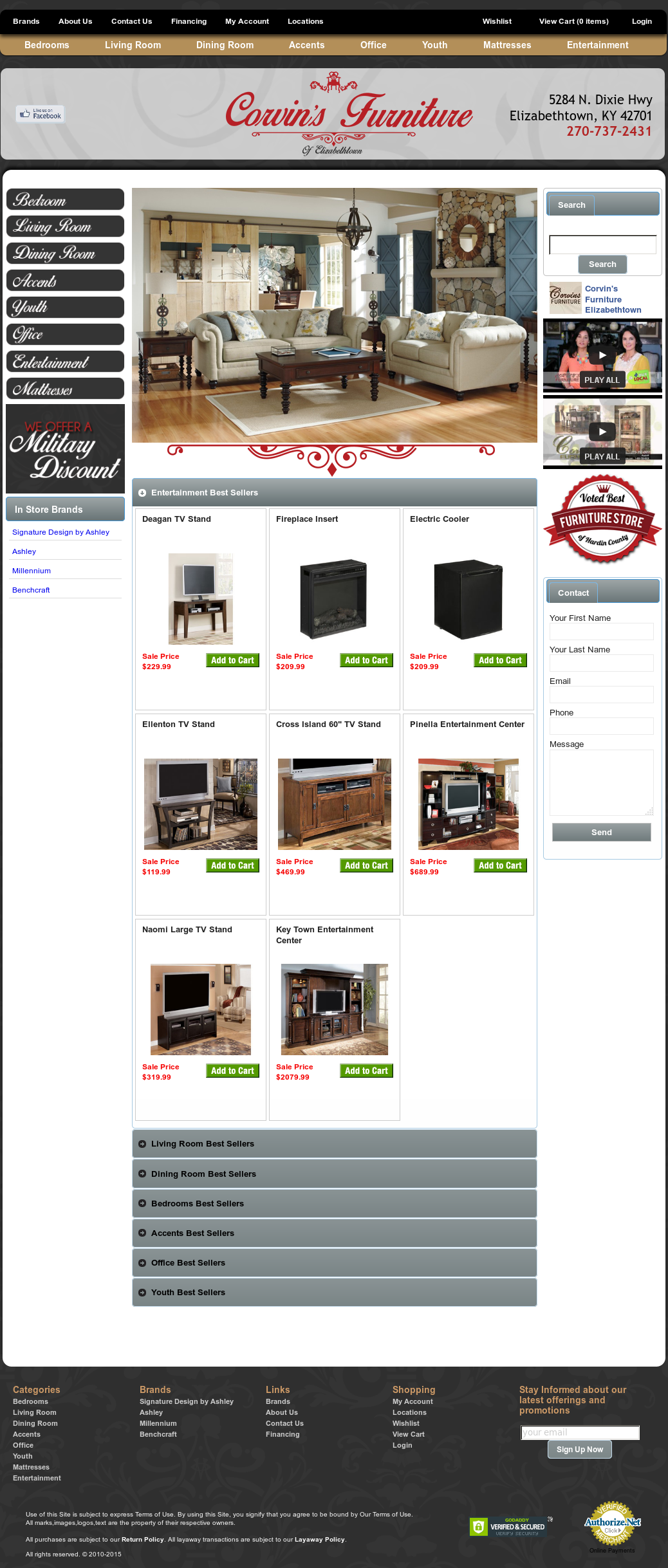 Corvins Furniture Website History